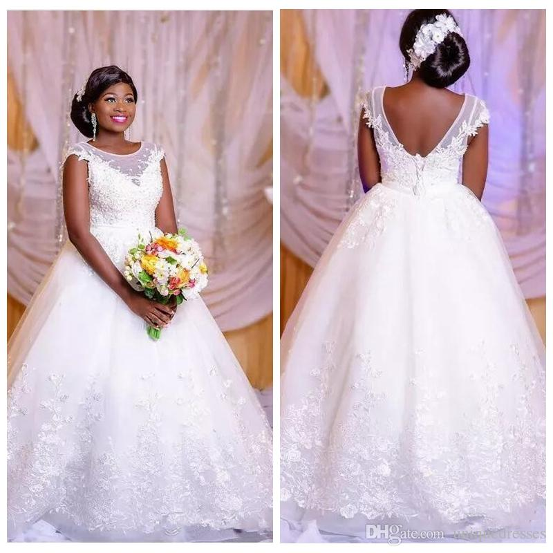 White Princess Lace Wedding Dresses 2018 Sexy African Sheer Neck Backless  Black Girls Plus Size Gowns Bride Dress Vestido De Noiva Off The Shoulder  Dresses ... e2bc1aa1b4c7