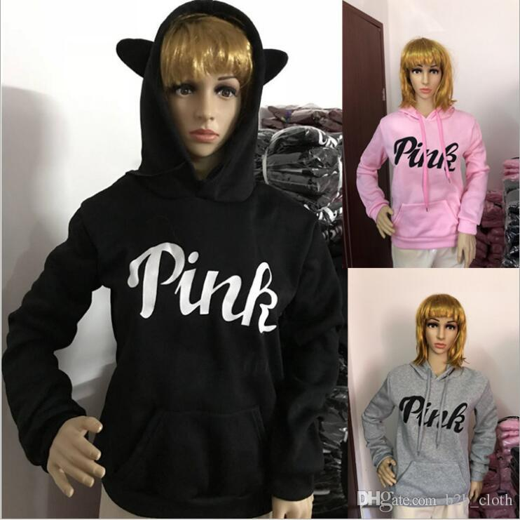 534f04084846 Pink Letter Hoodies Pink Print Casual Coat Jackets Women Long Sleeve ...