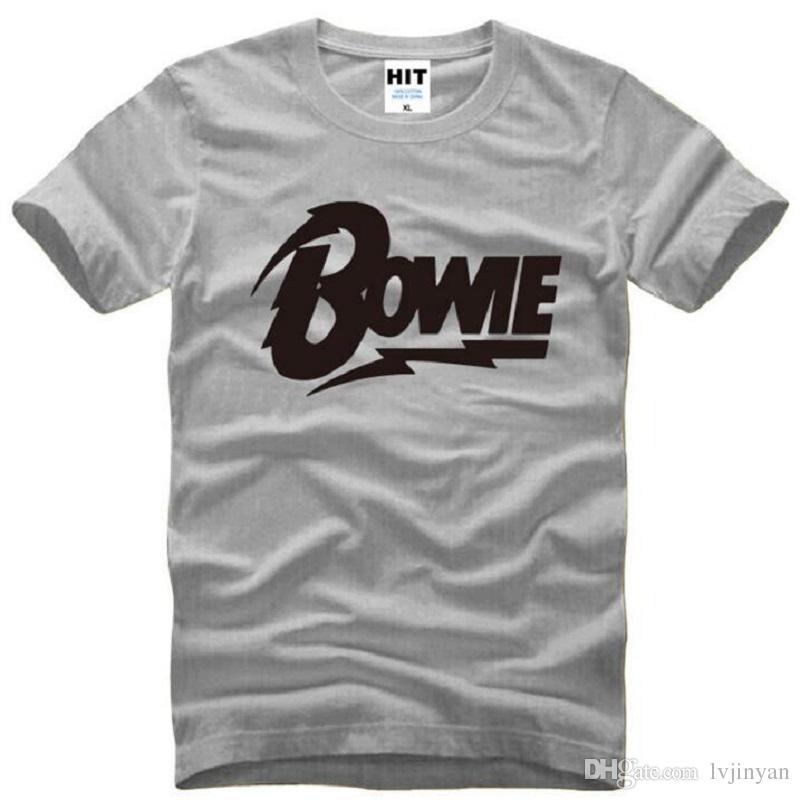 0ed9dd961375 Acheter David Bowie LOGO Imprimé T Shirts Hommes Manches Courtes O Neck  Coton Hommes T Shirt Rock Musique Memorial Top T Shirts Fans Tee Shirt Homme  De ...