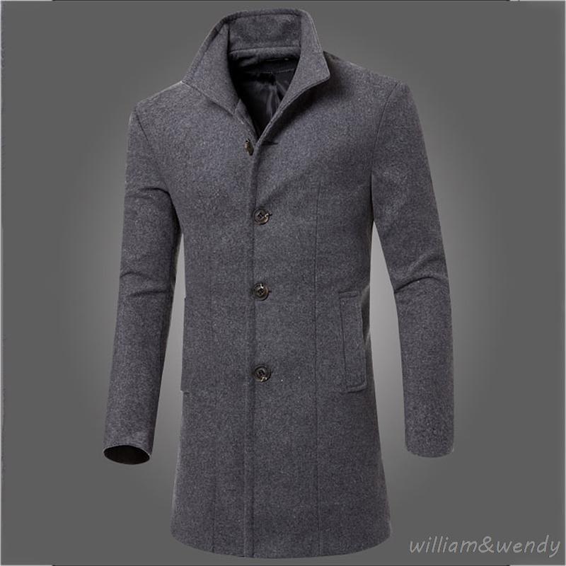 20e356e53a7 2019 Men Slim Large Size Wool Blend Peacoat Autumn Winter Warm Jacket  Cashmere Cotton Down Coat Classic Black Long Korean Overcoat XL From  Hongzhang