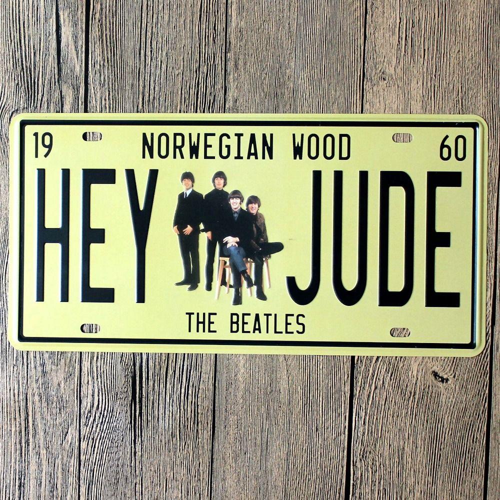 2018 New Arrival Losicoe Vintage License Plate Hey Jude Wall Art ...