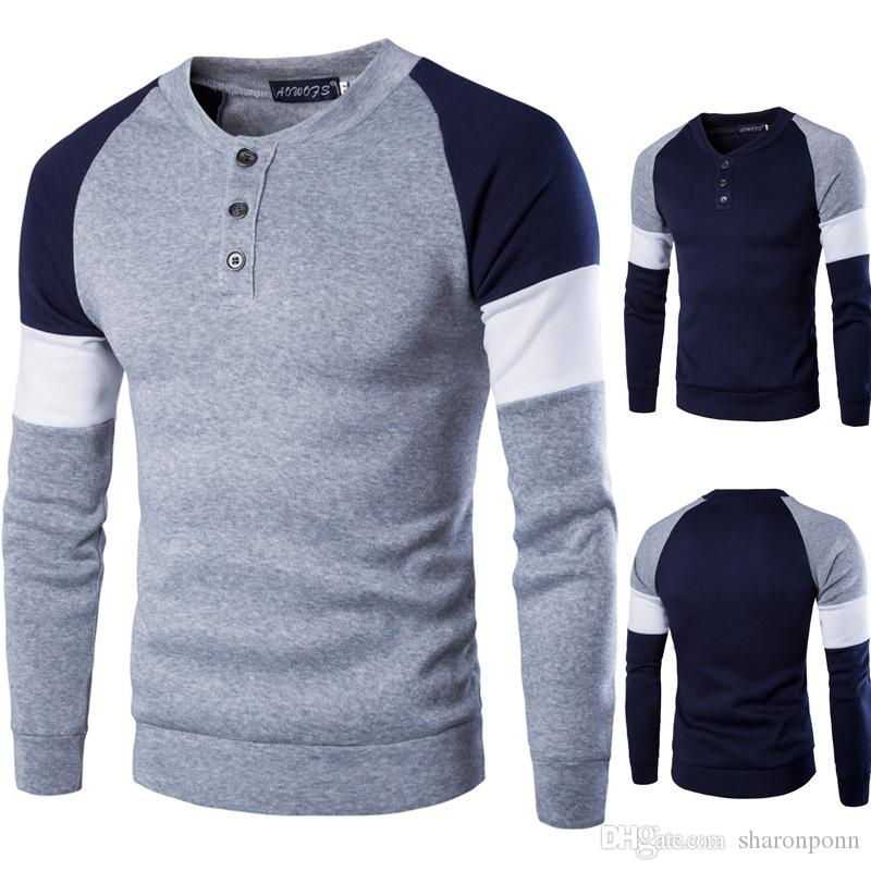 Mens Plain T-Shirt Long Sleeve Cotton Sweater Pullover Jumper Tops