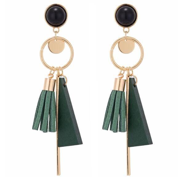 9bae8af99038 Compre Nuevos Pendientes De Borla De Madera Geométrica Verde Negro Pendientes  Largos Cuelgan Para Las Mujeres Joyería De Moda De Alta Calidad A  1.06 Del  ...