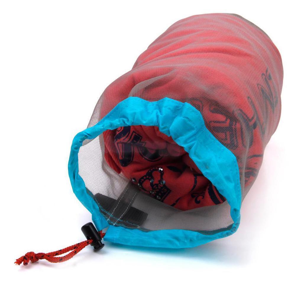Ultraligero Camping Deportes Malla Cordón Bolsa de almacenamiento Senderismo Escalada Saco Cordón Bolsa de lavandería bolsa S-XXL