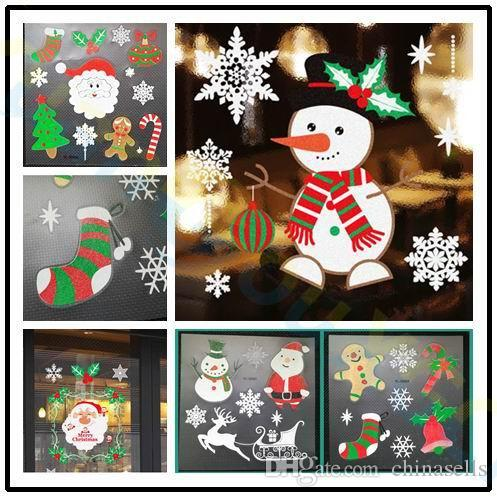 Christmas Party Shop Window Stickers Xmas Decoration Cartoon Santa Claus Snowflake Pvc Wall Glass Stickers Props Ornaments Christmas Decorations Christmas