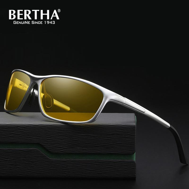 94fe751433dc9 Compre BERTHA Alumínio Magnésio Polarized Óculos De Sol Dos Homens Lente  Amarela Óculos De Noite Óculos De Condução Anti Reflexo Polarizador Eyewear  YS2179 ...