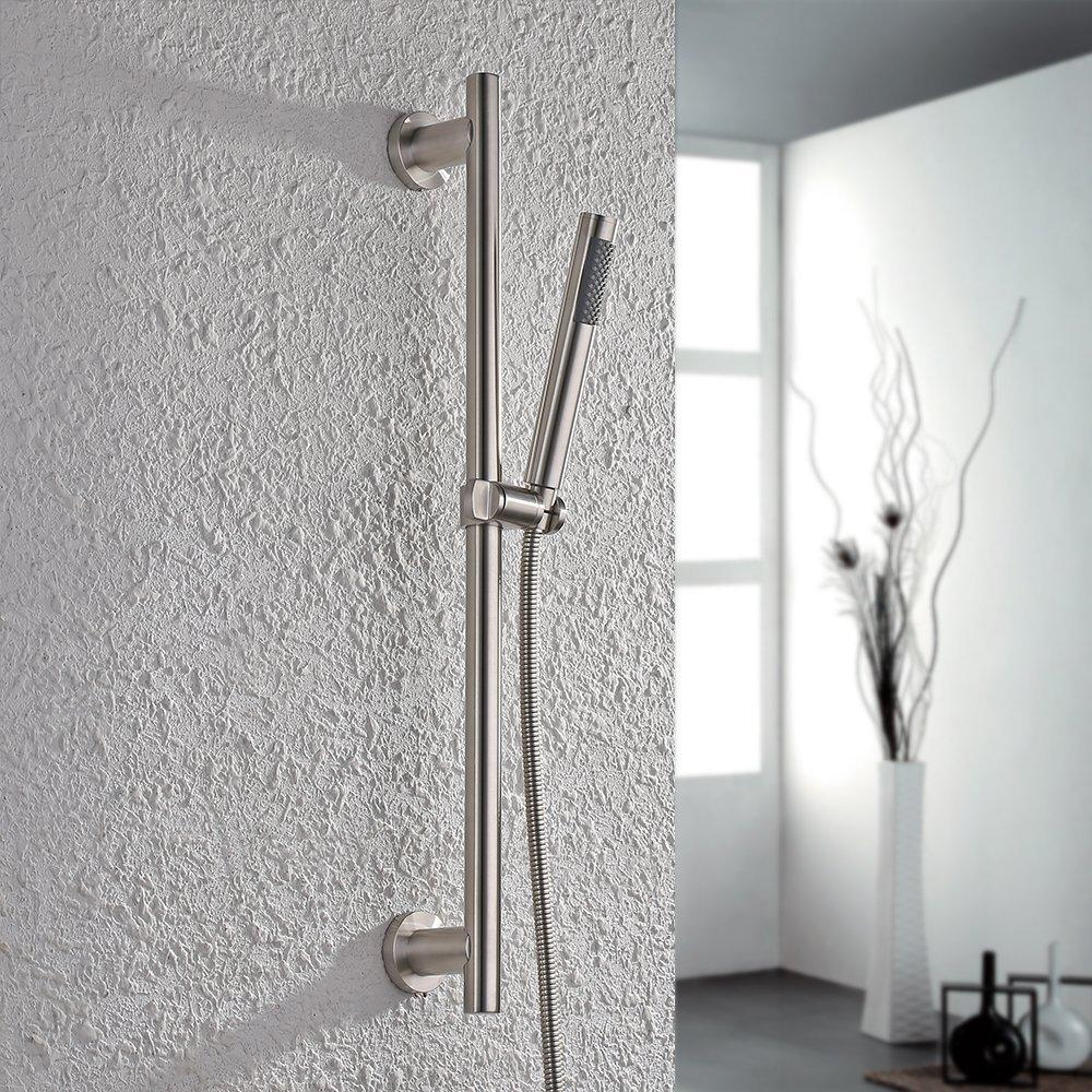 Bon 2019 Brushed Bathroom All Stainless Steel Shower Head Set With Slide Bar  Hand Showerhead Adjustable Sliding Bracket Holder From Hibooth, $88.23 |  DHgate.Com