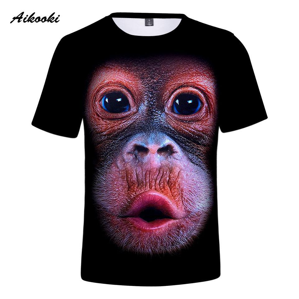 6a8a5868e8e Aikooki Gorilla 2018 New 3D Print Cool T Shirt Men Women Short Sleeve  Summer Cool Tops 3d Tees T Shirt Fashion Handsome Men Tops Silly Tee Shirts  Tee Shirt ...