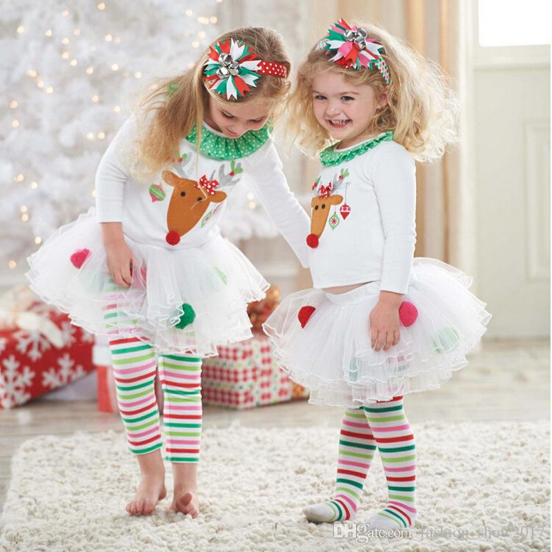 New Girls Boutique Clothing Cotton Children Clothing Christmas Outfits Elk Kids Girl Clothes Sets Tutu Dress Girl Party Dress