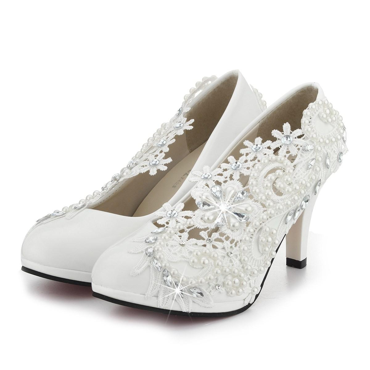 272482a7c89 Pumps Handmade Lace Pearl Wedding Shoes Rhinestones White Bridal Shoes  Bridesmaid Banquet Dress Women 8cm High Heel Pumps Black Flats Blue Heels  From ...