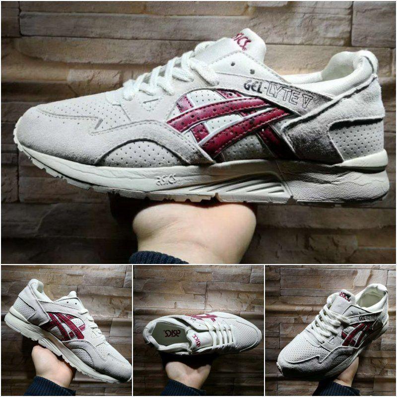 Compre Venda Por Atacado Asics Gel Lyte V H60CK 0625 Cinza Vermelho Novas  Sapatilhas De Almofada Quente Melhores Sapatos De Corrida De Qualidade  Originais ... 1b1691e01466e
