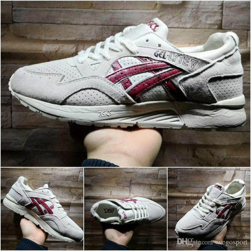 quality design d5fca ad115 Wholesale Asics Gel-Lyte V H60CK-0625 Gray-Red New Hot Cushion Sneakers  Best Quality Originals Trainer Running Shoes Size 36-45