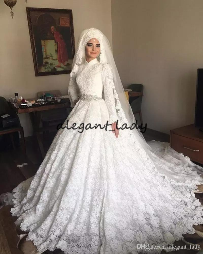 Discount Luxury Muslim Wedding Dresses 2019 High Neck Long Sleeve Crystal  Belt Lace Dubai Arabic Kaftan Caftan Wedding Bridal Gowns Sweep Train  Wedding ... 7226bd69328e