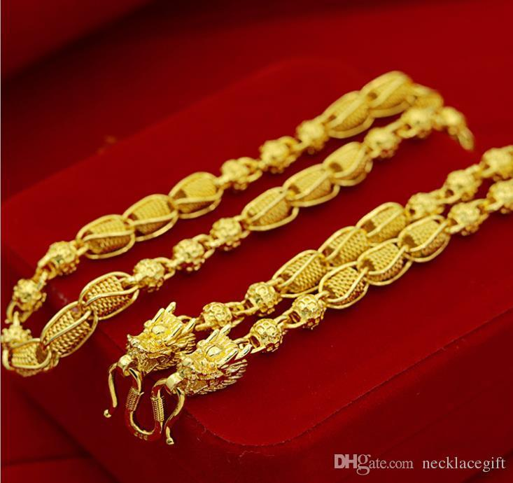 weighty Heavy!Transport bead 48g 24k dragon Real Yellow Solid Gold Men's Necklace Curb Chain 5mm Jewelry mint-mark lettering 100% real gold