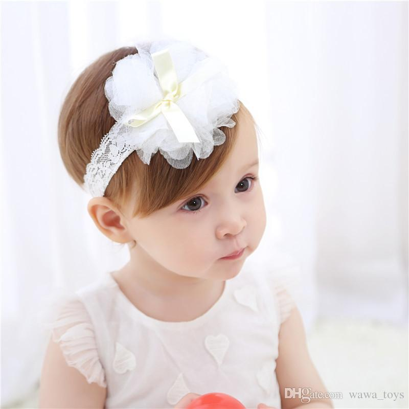 8a09e1de8f1d Baby Girl Toddler Lace Flower Headband Kids Hair Band Headwear Accessories  Ribbon Bowknot Headband Pink White Baby Toddler Headwear Fashion  Accessories for ...