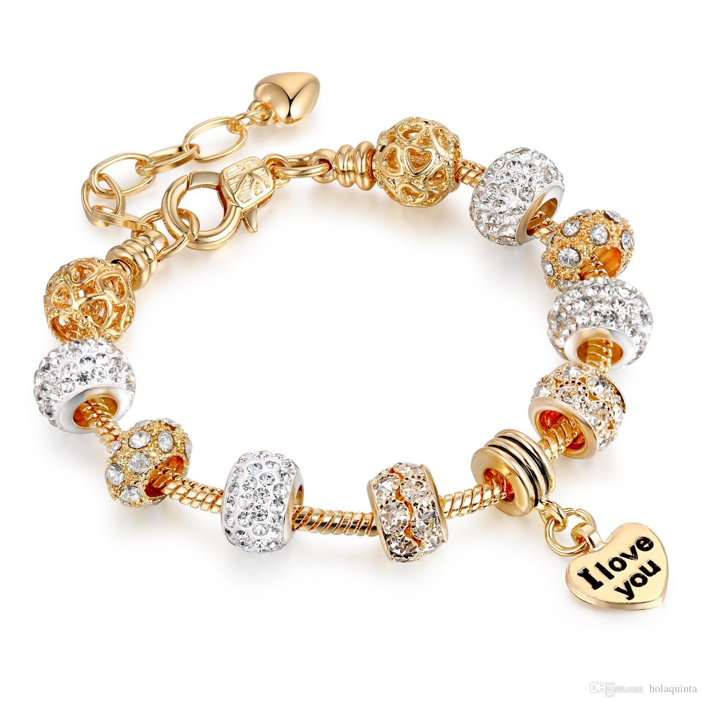 Gold Love Crystal Charms for Pandora Bracelets Women Fashion Jewelry Valentine Gift
