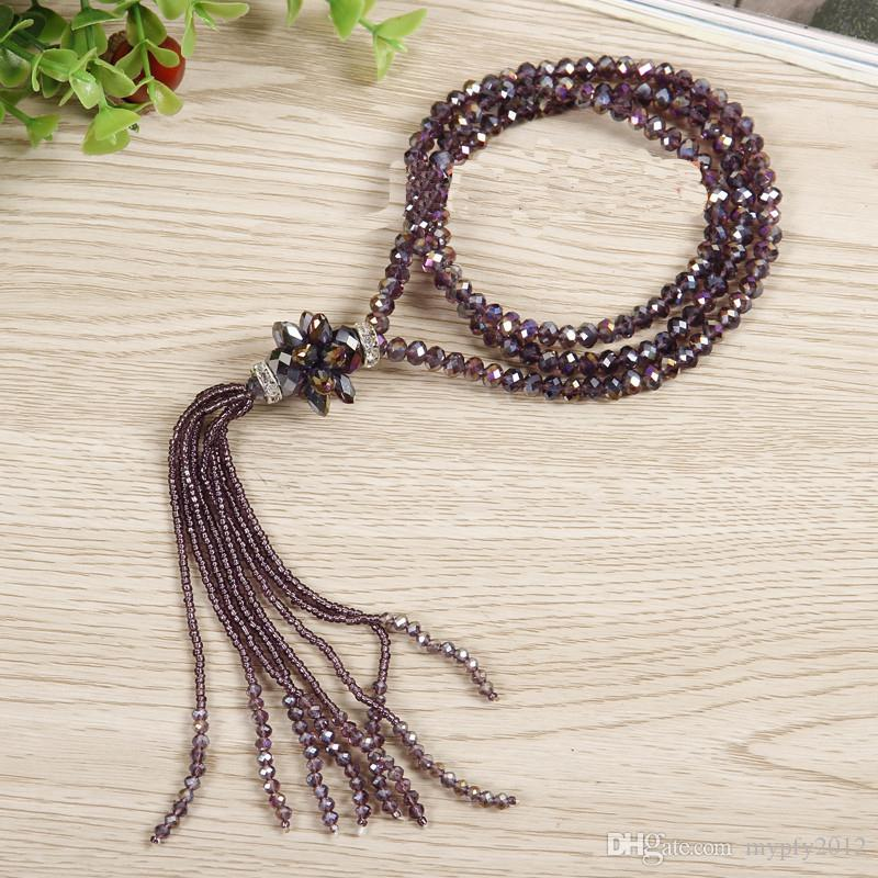 Tassel Long Necklace For Women Fashion New Classic Crystal Flower Sweater Necklaces & Pendants Gift Mix Colors ZX