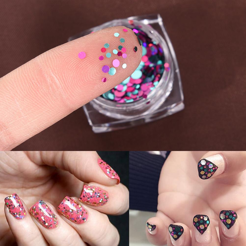 3d Laser Glitter Sequin Nail Art Round Decorations Colorful Designs ...