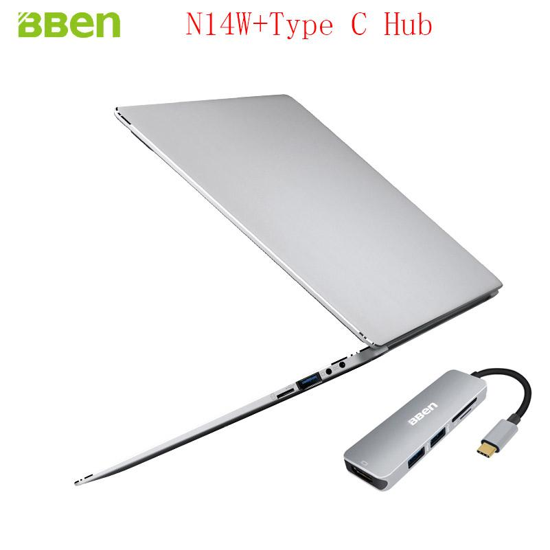 Bben N14W Intel Apollo N3450 Laptop 1920*1080TN Windows10 4GB DDR3 RAM+64GB EMMC Ultrabook Notebook Computer With Type C Hub