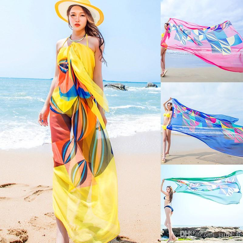 211a5e304ef1c 2019 Scarves Sexy Woman Summer Chiffon Pareo Geometrical Design Print Swimsuit  Beach Cover Up Sarong Dress Ladies Hijab Wrap Scarf 140x190cm From Jame_6,  ...