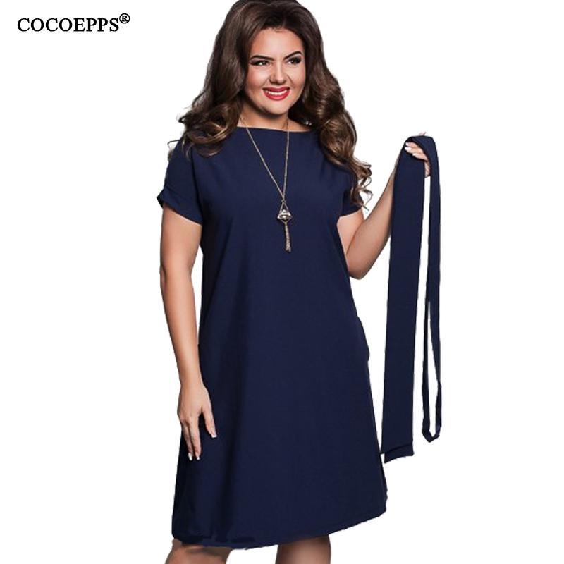 50afd643d1d4 Acquista COCOEPPS Elegante Casual Donna Abiti Blu Grandi Taglie NUOVO 2018 Plus  Size Abbigliamento Donna Estate Stile O Collo Aderente Abito In Chiffon ...