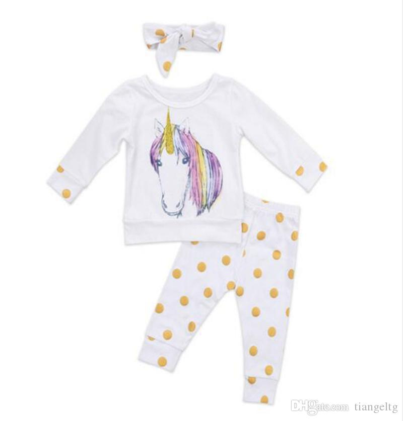 Girls Unicorn Printed Suits Three-piece Clothing Sets Long Shirt Pants Hairband Horse Printed Girls Clothes Spring Autumn 0-24M