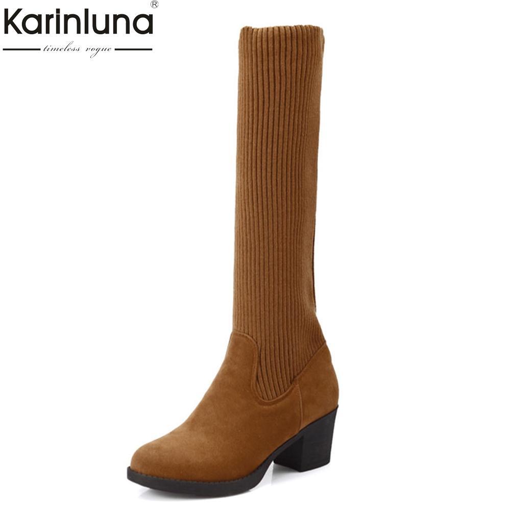 ce282b3380 Compre KARINLUNA 2018 Tamanho Grande 34 43 Sapatos De Salto Quadrado Sapatos  De Mulher Botas De Moda De Melhor Qualidade Na Altura Do Joelho Botas Mulher  ...