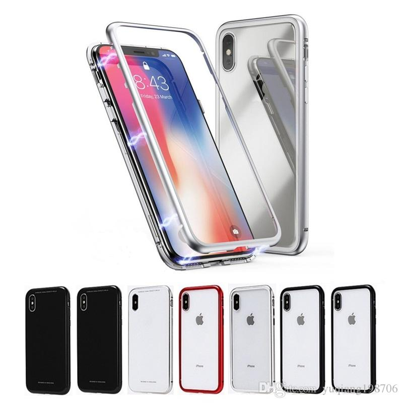 uk availability d76b5 4b8b0 For iPhone XS Max XR Strong Magnetic Metal Frame 9H Tempered Glass Phone  Case Against Falling For iPhone X 6 7 8 Plus