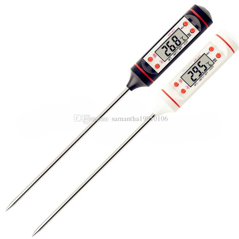 20pcs/lot Digital Probe Meat Thermometer Kitchen Cooking BBQ Food Thermometer Cooking Stainless Steel Foldable Probe Meat