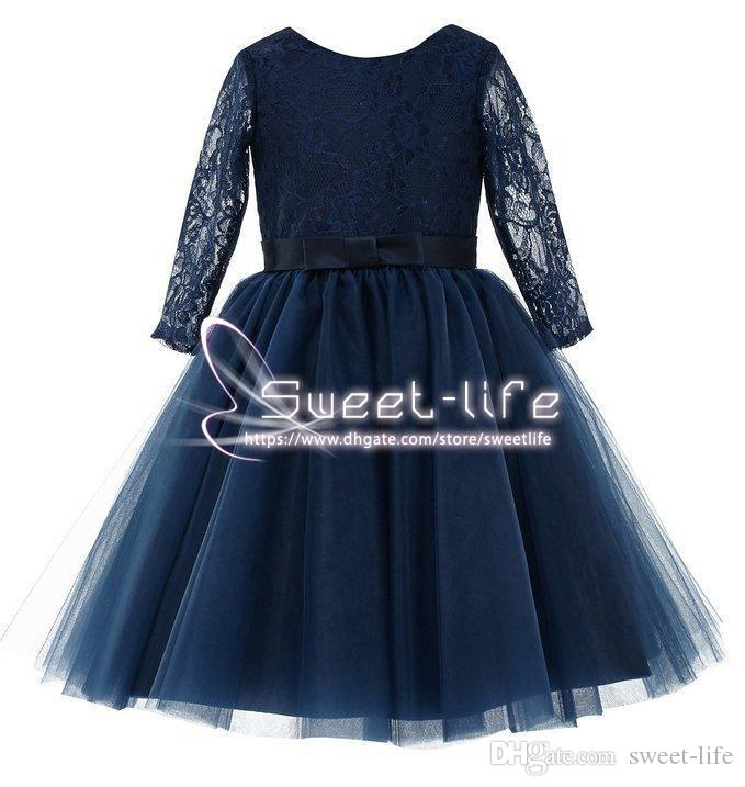 Simple Short Navy Blue 2018 Princess Flower Girl Dresses Long sleeve Lace Hollow with Bow Empire Tulle Tea length Girl Dresses For Wedding
