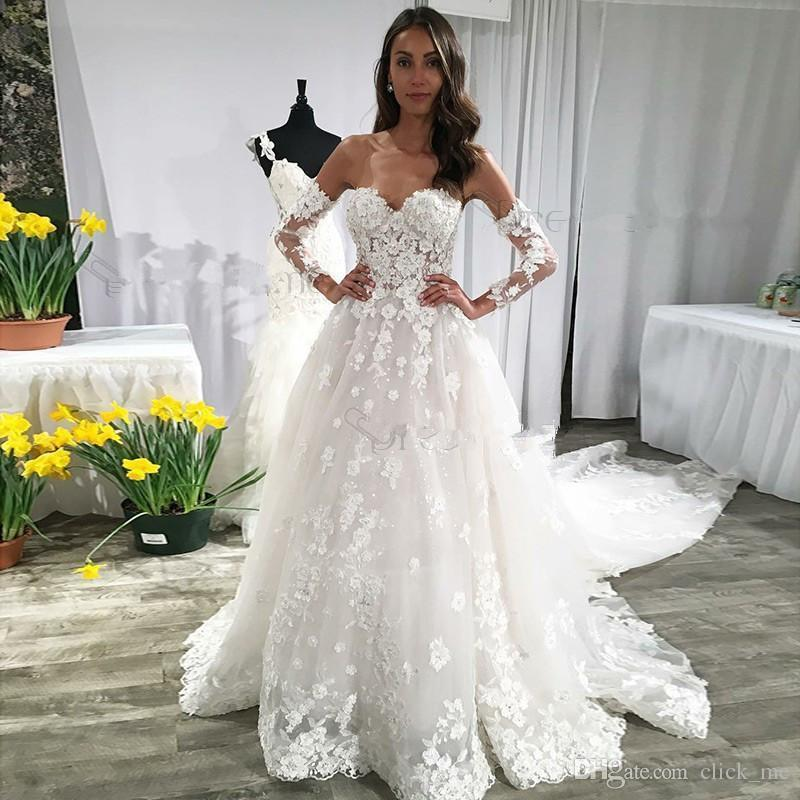 Discount Lace Wedding Dresses With Long Sleeves Sweetheart Backless