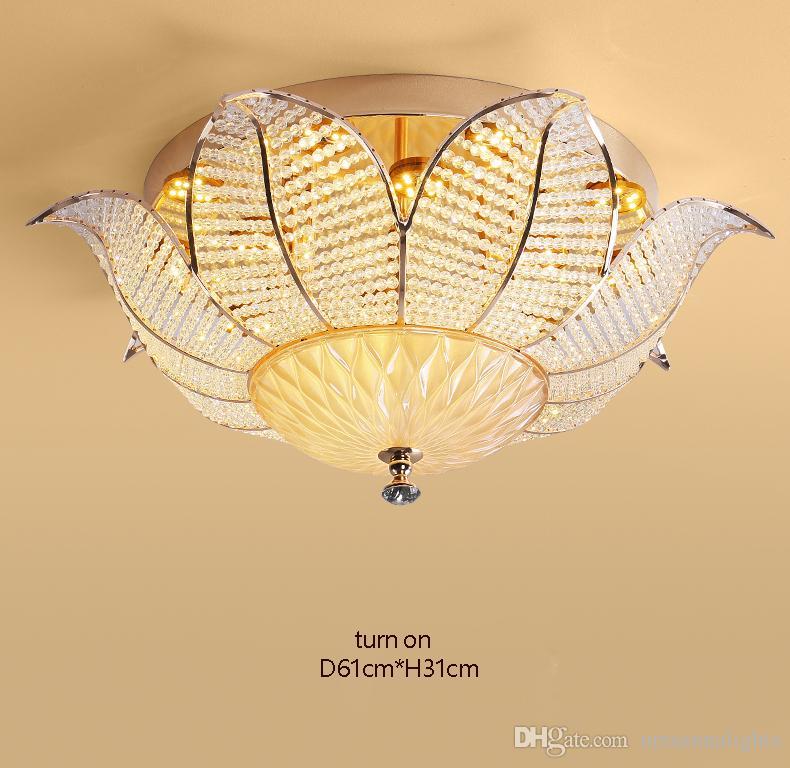Modern Kristal Tavan Lambaları 3 Renkler LED Dim Ayçiçeği Tavan Lambaları Armatür Amerikan Romantik Kristal Lamba Ev İç Aydınlatma
