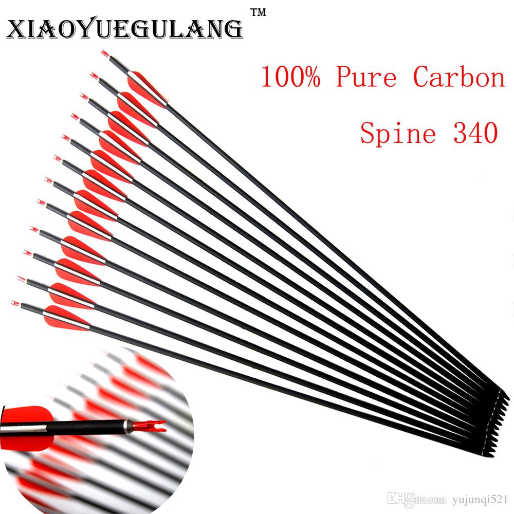 30'' Spine 340 OD 7.6 Mm ID 6.2 Mm Archery Carbon Arrows Hunting And
