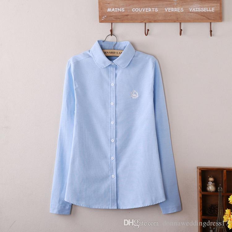 Blusa de las mujeres 2020 Nueva Casual algodón de manga larga Blanco Oxford camisa de la oficina Mujer Camisas Blusas excelente calidad de señora KK09