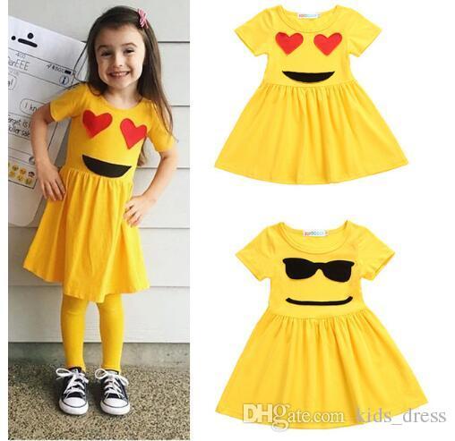23480cd23 2019 Girls Dresses Summer Emoji Dresses For Girls Princess Short ...