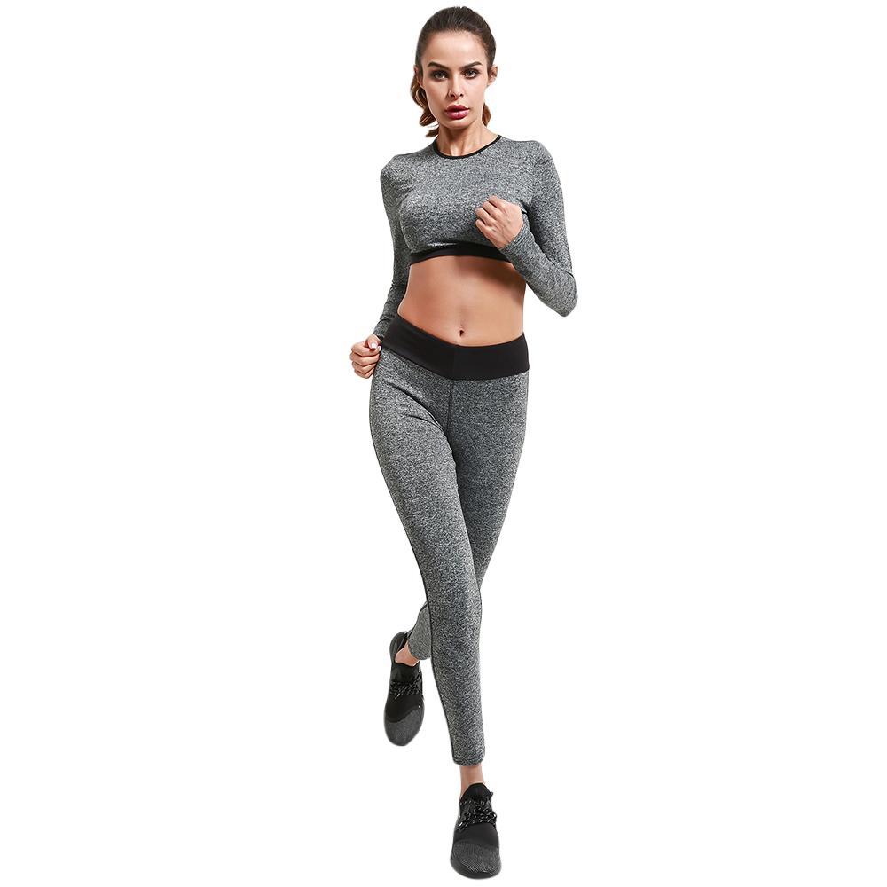73707cc2a Compre Belleziva 2 Peças De Manga Longa Yoga Set Ginásio De Fitness Mulheres  Apertadas Treino Stiching Correndo Esporte Terno Roupas De Treino De ...