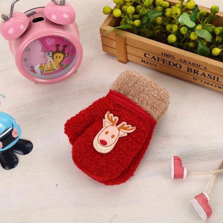 Fashion winter warm children golves cartoon pattern mittens boys girls cute gloves soft full finger gloves