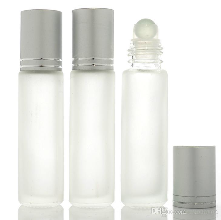 أعلى 10 مل أنيقة زجاج بلوري لفة على زجاجات العطور الزيوت الأساسية مع الكرة الدوارة الفولاذ المقاوم للصدأ مع كاب فضي أسود A466