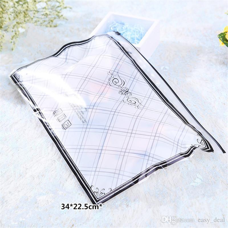 34cmx22.5cm Poly Zipper Garment Underwear Storage Bag With Zip Lock For Women Bra Clear Front Reclosable LZ1843