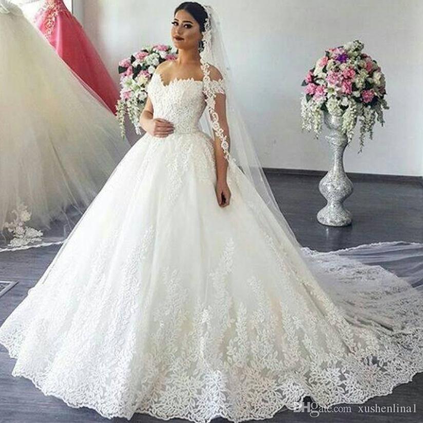 9fe9c8531 Vestido De Noiva Barato Maravilhoso Rendas Princesa Vestidos De Casamento  Romântico Off The Shoulder Beads Lace Apliques De Tule Vestido De Noiva  2018 ...