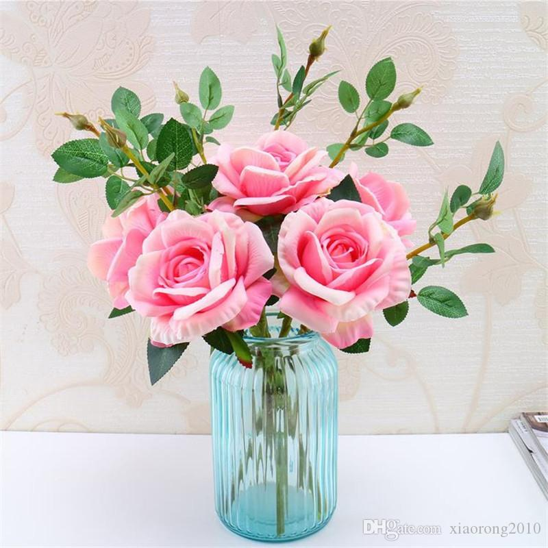 Fake Single Stem Rose Simulation Roses with Green Leaf for DIY Bridal Bouquet Flower Arrangement Accessories