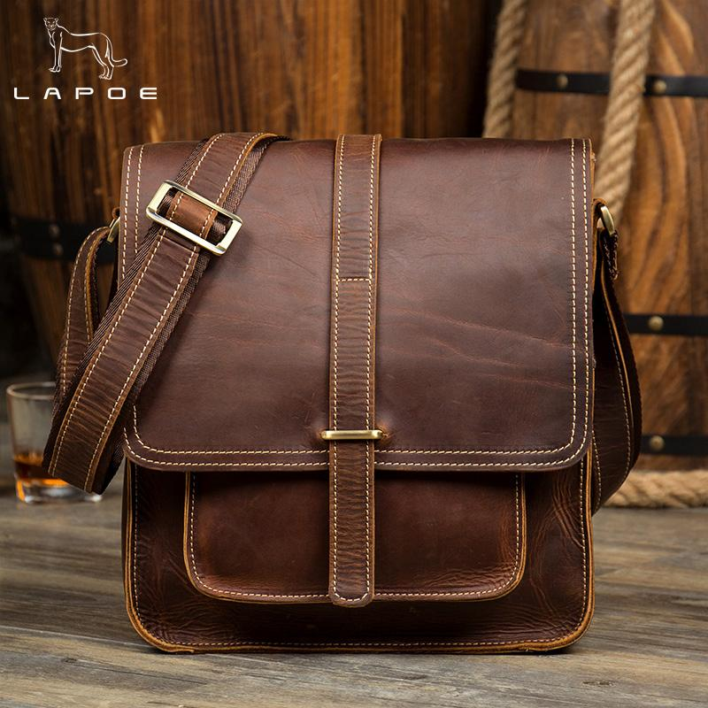 d0cbbab621 LAPOE Crazy Horse Genuine Leather Men Bag Male Vintage Small Shoulder  Messenger Bags Crossbody Bags Messenger Bag Men Leather Purses Designer  Handbags From ...