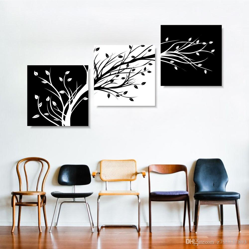 2019 Canvas Wall Art Pictures Black And White Tree Painting Modular