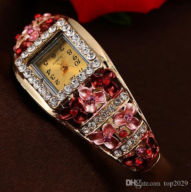Frauen Luxus Blingbling Diamant Uhr Mode edles Geschenk Kristall prächtig gemalt Metall dreidimensionale Blatt Blumen Armbänder Uhr