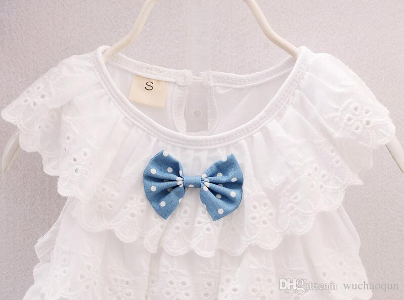 2018 hot sell Summer Baby Girl Suits T-shirt+Shorts Clothing Cotton Sets Top T-shirt And Dot Denim Shorts Outfits Kids Clothing Suits