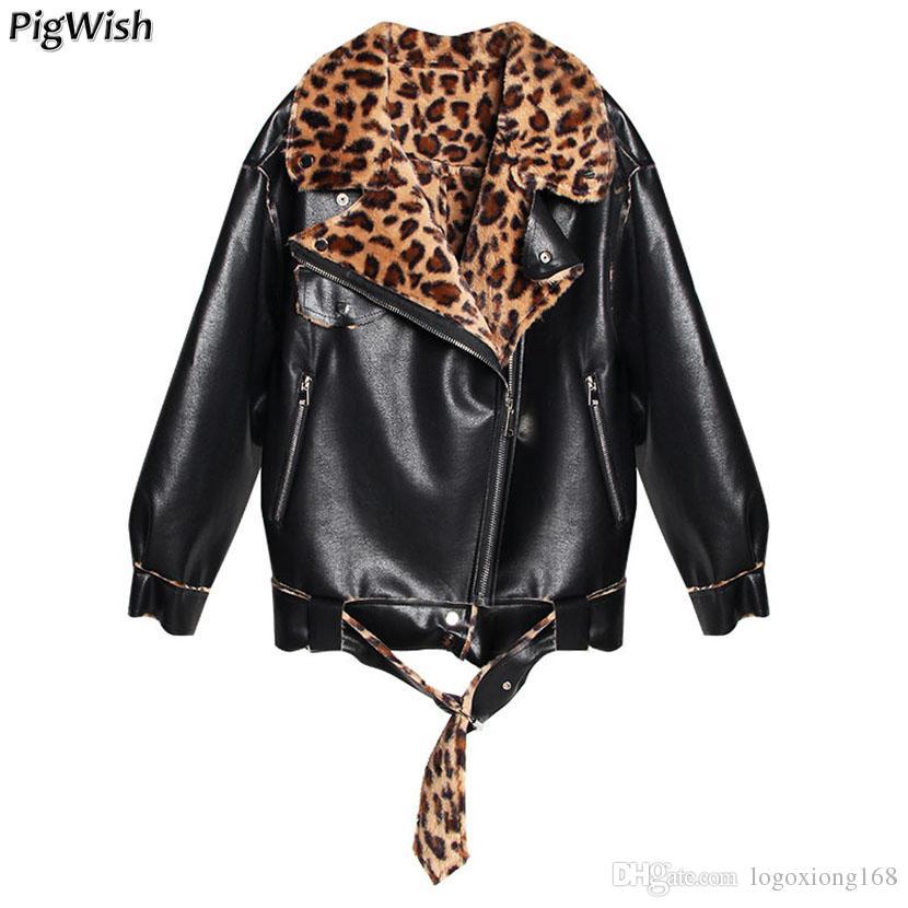 newest e3bfb 1580a Giacca da aviatore 2018 Inverno Donna Cappotti in pelle PU Addensata Faux  Leather Leopard Donna Cappotto caldo Fodera in pelliccia Tuta sportiva ...
