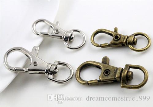 فضة برونز كليب معدن مطلي المشبك جراد البحر دوار مفتاح هوكس سلسلة المفاتيح سبليت حلقة مفتاح النتائج المشابك جعل 30mm و