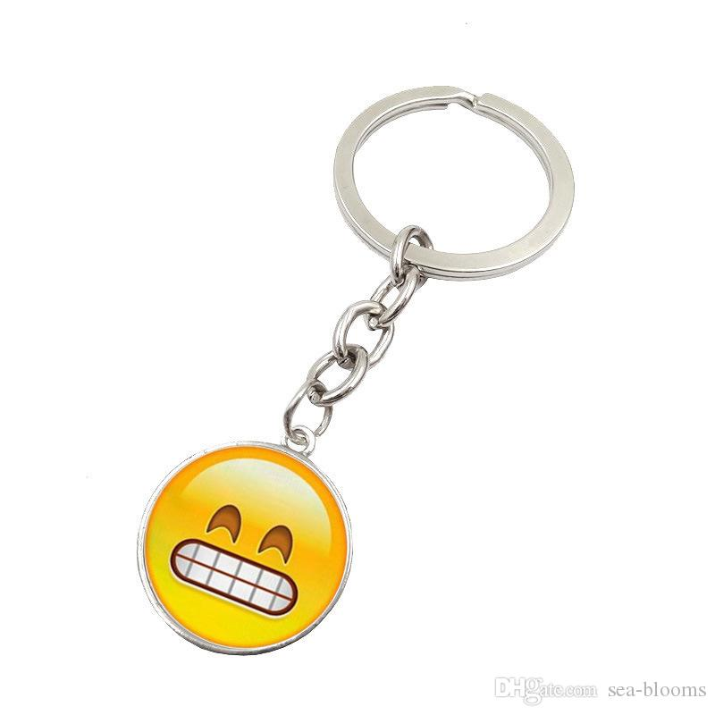 New Hot Fashion Emoji Smile Face Time Precious Stones Pendant Metal Glass Keychain Jewelry for Women Men Girl Gift D596S