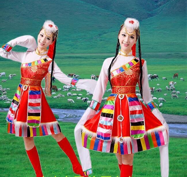 e057ec5e4 2019 Dress+Belt+Headwaer+Shoes Tibetan Dance Costume Women Chinese ...