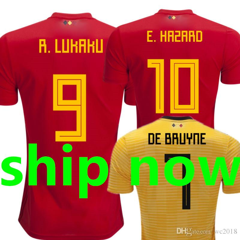 3e0b508e5ab Belgium Soccer Jersey World Cup 2018 Fans Player Version LUKAKU ...